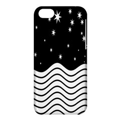 Black And White Waves And Stars Abstract Backdrop Clipart Apple Iphone 5c Hardshell Case by Amaryn4rt