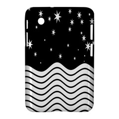 Black And White Waves And Stars Abstract Backdrop Clipart Samsung Galaxy Tab 2 (7 ) P3100 Hardshell Case  by Amaryn4rt