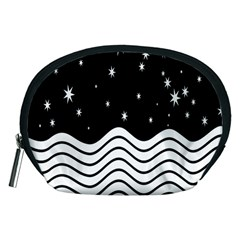 Black And White Waves And Stars Abstract Backdrop Clipart Accessory Pouches (medium)  by Amaryn4rt