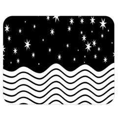 Black And White Waves And Stars Abstract Backdrop Clipart Double Sided Flano Blanket (medium)  by Amaryn4rt