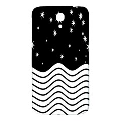Black And White Waves And Stars Abstract Backdrop Clipart Samsung Galaxy Mega I9200 Hardshell Back Case by Amaryn4rt