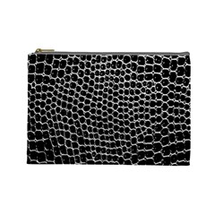 Black White Crocodile Background Cosmetic Bag (large)  by Amaryn4rt
