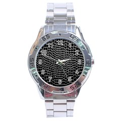 Black White Crocodile Background Stainless Steel Analogue Watch by Amaryn4rt