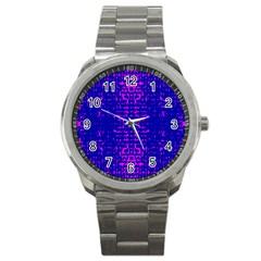 Blue And Pink Pixel Pattern Sport Metal Watch