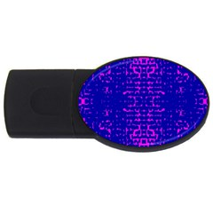 Blue And Pink Pixel Pattern Usb Flash Drive Oval (4 Gb) by Amaryn4rt
