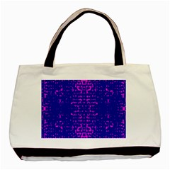 Blue And Pink Pixel Pattern Basic Tote Bag by Amaryn4rt