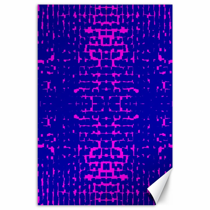 Blue And Pink Pixel Pattern Canvas 24  x 36