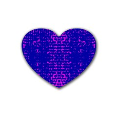 Blue And Pink Pixel Pattern Rubber Coaster (heart)  by Amaryn4rt