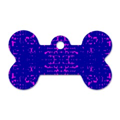 Blue And Pink Pixel Pattern Dog Tag Bone (two Sides) by Amaryn4rt