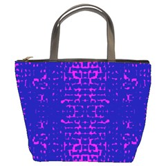 Blue And Pink Pixel Pattern Bucket Bags by Amaryn4rt