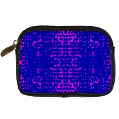 Blue And Pink Pixel Pattern Digital Camera Cases by Amaryn4rt