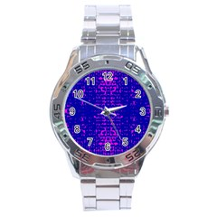 Blue And Pink Pixel Pattern Stainless Steel Analogue Watch by Amaryn4rt