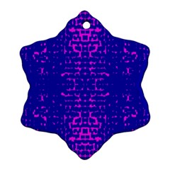 Blue And Pink Pixel Pattern Ornament (snowflake) by Amaryn4rt
