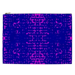 Blue And Pink Pixel Pattern Cosmetic Bag (xxl)  by Amaryn4rt