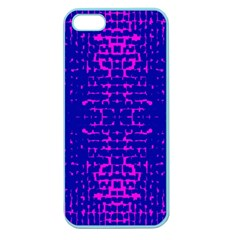 Blue And Pink Pixel Pattern Apple Seamless Iphone 5 Case (color) by Amaryn4rt
