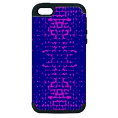 Blue And Pink Pixel Pattern Apple Iphone 5 Hardshell Case (pc+silicone) by Amaryn4rt
