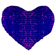 Blue And Pink Pixel Pattern Large 19  Premium Heart Shape Cushions by Amaryn4rt