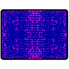 Blue And Pink Pixel Pattern Double Sided Fleece Blanket (large)  by Amaryn4rt