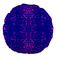 Blue And Pink Pixel Pattern Large 18  Premium Flano Round Cushions by Amaryn4rt