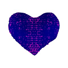 Blue And Pink Pixel Pattern Standard 16  Premium Flano Heart Shape Cushions by Amaryn4rt