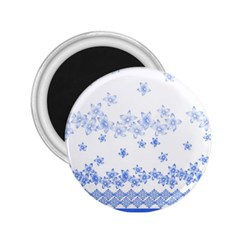Blue And White Floral Background 2 25  Magnets