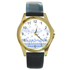 Blue And White Floral Background Round Gold Metal Watch by Amaryn4rt