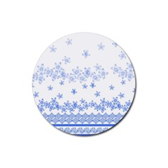 Blue And White Floral Background Rubber Coaster (round)  by Amaryn4rt