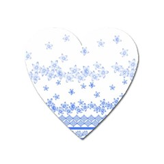 Blue And White Floral Background Heart Magnet by Amaryn4rt