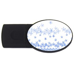 Blue And White Floral Background Usb Flash Drive Oval (2 Gb) by Amaryn4rt
