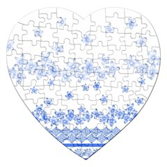 Blue And White Floral Background Jigsaw Puzzle (heart) by Amaryn4rt