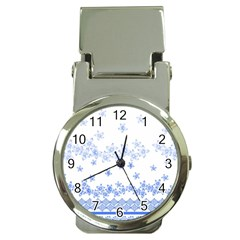 Blue And White Floral Background Money Clip Watches by Amaryn4rt