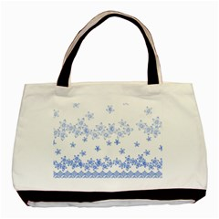 Blue And White Floral Background Basic Tote Bag by Amaryn4rt