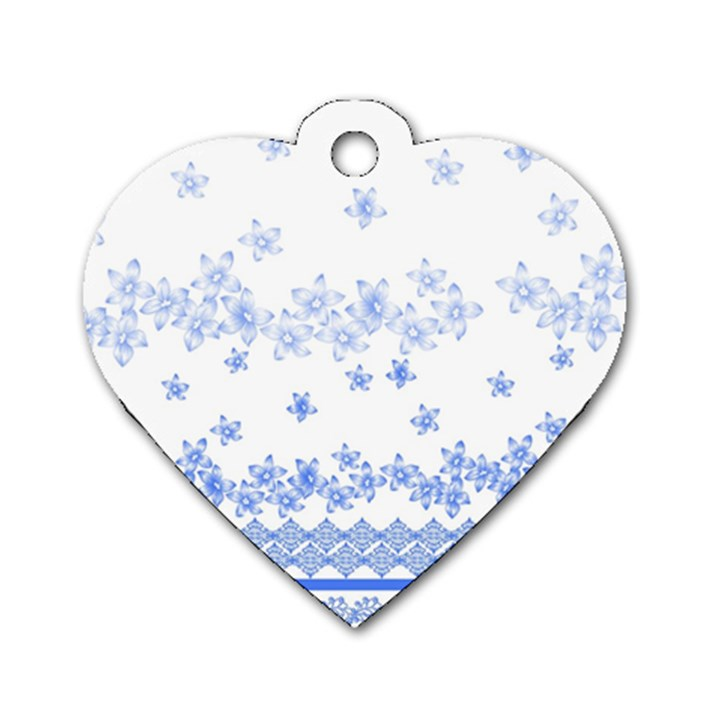 Blue And White Floral Background Dog Tag Heart (One Side)