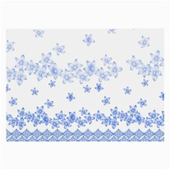 Blue And White Floral Background Large Glasses Cloth (2 Side) by Amaryn4rt