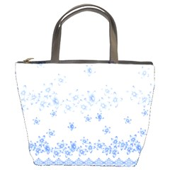 Blue And White Floral Background Bucket Bags by Amaryn4rt