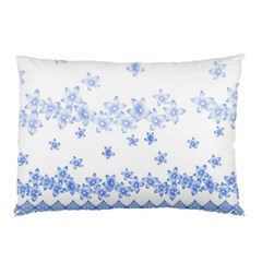 Blue And White Floral Background Pillow Case