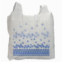 Blue And White Floral Background Recycle Bag (two Side)  by Amaryn4rt