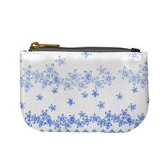 Blue And White Floral Background Mini Coin Purses