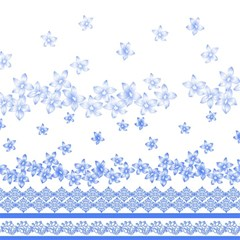 Blue And White Floral Background Magic Photo Cubes by Amaryn4rt