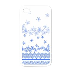 Blue And White Floral Background Apple Iphone 4 Case (white) by Amaryn4rt