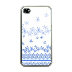 Blue And White Floral Background Apple Iphone 4 Case (clear) by Amaryn4rt