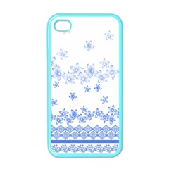 Blue And White Floral Background Apple Iphone 4 Case (color) by Amaryn4rt