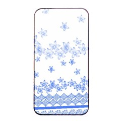 Blue And White Floral Background Apple Iphone 4/4s Seamless Case (black) by Amaryn4rt