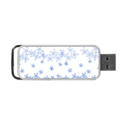 Blue And White Floral Background Portable Usb Flash (one Side) by Amaryn4rt