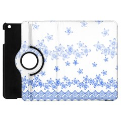 Blue And White Floral Background Apple Ipad Mini Flip 360 Case by Amaryn4rt