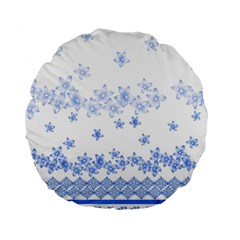 Blue And White Floral Background Standard 15  Premium Round Cushions by Amaryn4rt