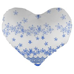 Blue And White Floral Background Large 19  Premium Heart Shape Cushions by Amaryn4rt