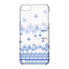 Blue And White Floral Background Apple Ipod Touch 5 Hardshell Case With Stand by Amaryn4rt