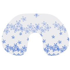 Blue And White Floral Background Travel Neck Pillows by Amaryn4rt