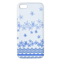 Blue And White Floral Background Iphone 5s/ Se Premium Hardshell Case by Amaryn4rt